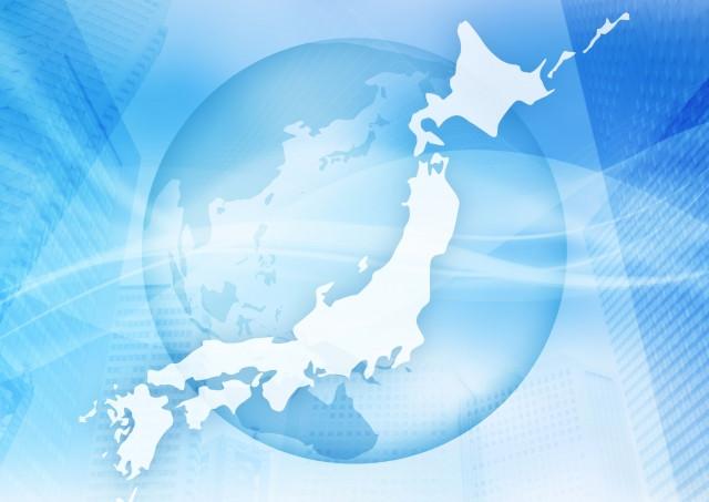 地球の背景と日本の外形